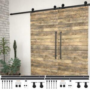 Kits de ferragens para porta deslizante 2 pcs 200 cm aço preto - PORTES GRÁTIS