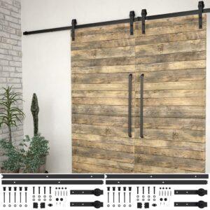 Kits de ferragens para porta deslizante 2 pcs 183 cm aço preto - PORTES GRÁTIS