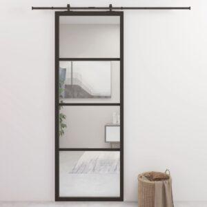 Porta de correr 76x205 cm alumínio e vidro ESG preto  - PORTES GRÁTIS