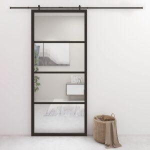 Porta de correr 90x205 cm alumínio e vidro ESG preto  - PORTES GRÁTIS