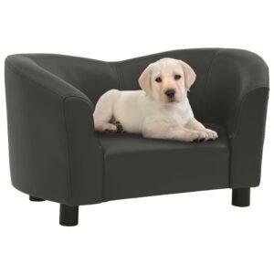 Sofá para cães 67x41x39 cm couro artificial cinzento-escuro - PORTES GRÁTIS