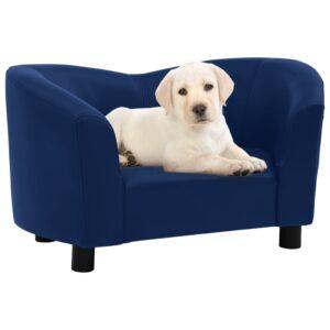 Sofá para cães 67x41x39 cm couro artificial azul - PORTES GRÁTIS