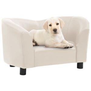 Sofá para cães 67x41x39 cm couro artificial cor creme - PORTES GRÁTIS