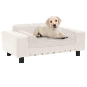 Sofá para cães 81x43x31 cm pelúcia e couro artificial creme - PORTES GRÁTIS
