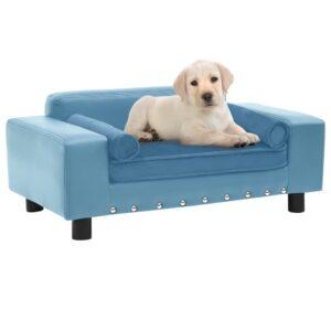 Sofá para cães 81x43x31 cm pelúcia e couro artificial turquesa - PORTES GRÁTIS