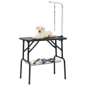 Mesa de grooming ajustável para cães com 1 laço e cesto - PORTES GRÁTIS