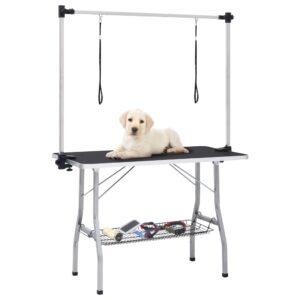 Mesa de grooming ajustável para cães com 2 laços e cesto - PORTES GRÁTIS