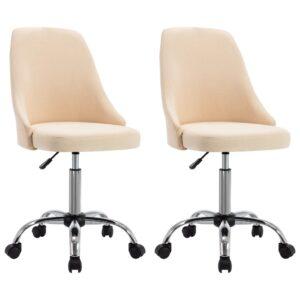 Cadeiras de escritório com rodas 2 pcs tecido cor creme - PORTES GRÁTIS