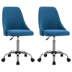 Cadeiras de escritório com rodas 2 pcs tecido azul - PORTES GRÁTIS