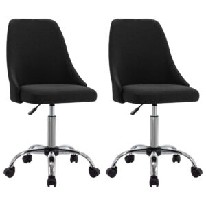 Cadeiras de escritório com rodas 2 pcs tecido preto - PORTES GRÁTIS