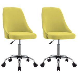 Cadeiras de escritório com rodas 2 pcs tecido amarelo - PORTES GRÁTIS