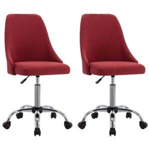Cadeiras de escritório com rodas 2 pcs tecido vermelho-tinto - PORTES GRÁTIS