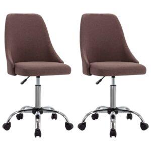 Cadeiras escritório c/ rodas 2 pcs tecido cinzento-acastanhado - PORTES GRÁTIS