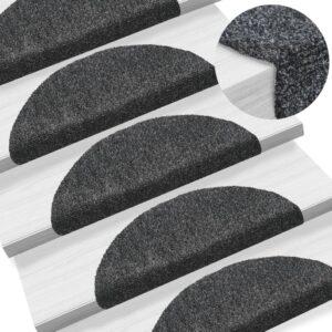 Tapetes de escada autoadesivos 10 pcs 54x16x4 cm cinza-escuro - PORTES GRÁTIS