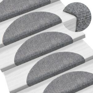 Tapetes de escada autoadesivos 10 pcs 54x16x4 cm cinzento-claro - PORTES GRÁTIS