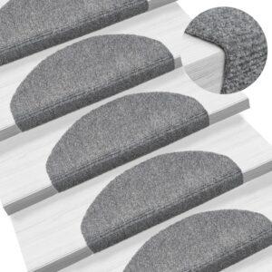 Tapetes de escada autoadesivos 10 pcs 65x21x4 cm cinzento-claro - PORTES GRÁTIS