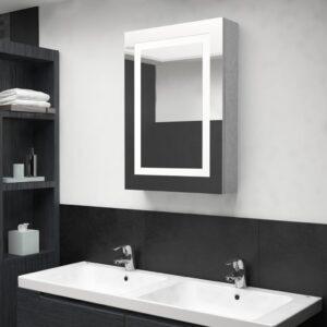 Armário espelhado casa de banho LED 50x13x70cm cinzento cimento - PORTES GRÁTIS