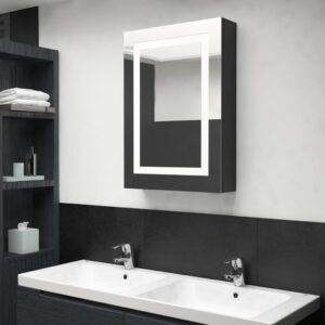 Armário espelhado casa de banho LED 50x13x70cm preto brilhante - PORTES GRÁTIS