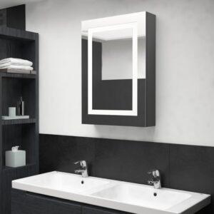 Armário espelhado casa de banho LED 50x13x70cm cinza brilhante - PORTES GRÁTIS