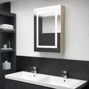 Armário espelhado casa de banho LED 50x13x70 cm branco/carvalho - PORTES GRÁTIS