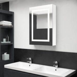 Armário espelhado casa de banho LED 50x13x70cm branco brilhante - PORTES GRÁTIS
