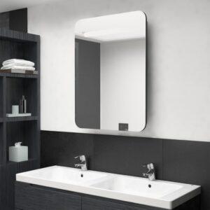 Armário espelhado casa de banho LED 60x11x80 cm preto brilhante - PORTES GRÁTIS