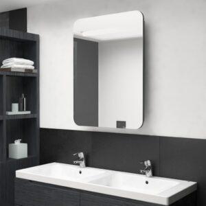 Armário espelhado casa de banho LED 60x11x80 cm cinzento - PORTES GRÁTIS