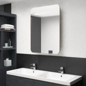 Armário espelhado p/ casa de banho LED 60x11x80 cm carvalho - PORTES GRÁTIS