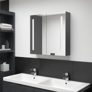 Armário espelhado p/ casa de banho LED 62x14x60 cm cinzento - PORTES GRÁTIS