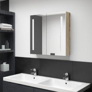 Armário espelhado casa de banho LED 62x14x60 cm branco/carvalho - PORTES GRÁTIS