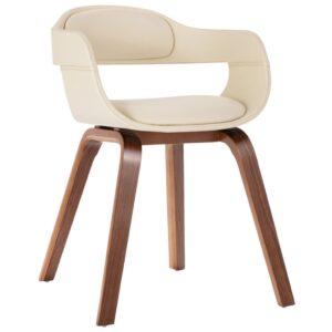 Cadeira de jantar madeira curvada e couro artificial branco - PORTES GRÁTIS