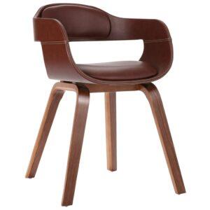 Cadeira de jantar madeira curvada e couro artificial castanho - PORTES GRÁTIS