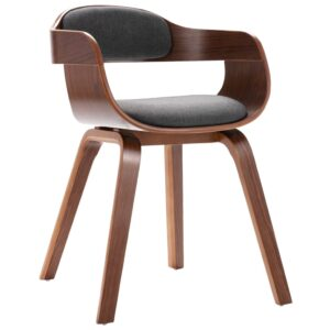 Cadeira de jantar madeira curvada e couro cinzento-escuro - PORTES GRÁTIS