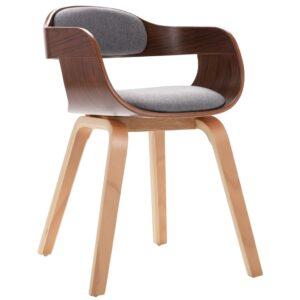 Cadeira de jantar madeira curvada e couro cinzento-claro - PORTES GRÁTIS