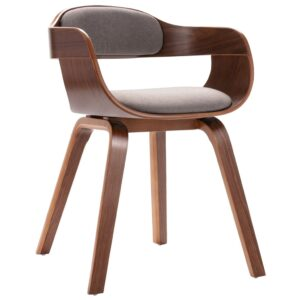 Cadeira jantar madeira curvada couro artif. cinza-acastanhado - PORTES GRÁTIS