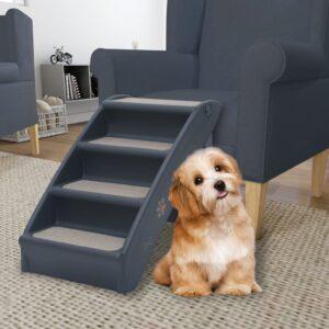 Escada para cães dobrável com 4 degraus cinzento-escuro - PORTES GRÁTIS