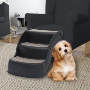 Escada para cães dobrável com 3 degraus preto - PORTES GRÁTIS