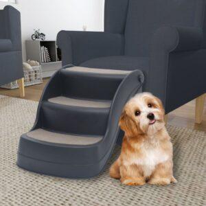 Escada para cães dobrável com 3 degraus cinzento-escuro - PORTES GRÁTIS