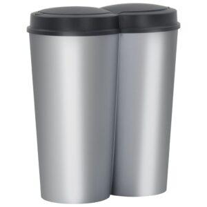 Caixote de lixo duplo 50 L prateado e preto - PORTES GRÁTIS