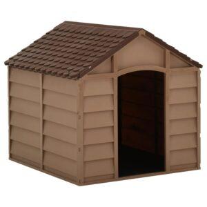 Casota para cão 71x71,5x68 cm castanho PP - PORTES GRÁTIS