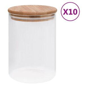 10 Frascos de vidro com tampas de bambu 260 ml - PORTES GRÁTIS