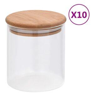 10 Frascos de vidro com tampas de bambu 600 ml - PORTES GRÁTIS