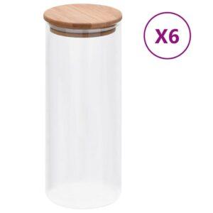 6 Frascos de vidro com tampas de bambu 1000 ml - PORTES GRÁTIS