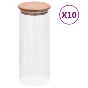 10 Frascos de vidro com tampas de bambu 1000 ml - PORTES GRÁTIS