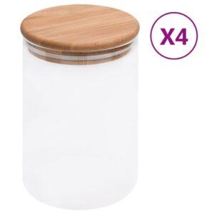 4 Frascos de vidro com tampas de bambu  800 ml - PORTES GRÁTIS