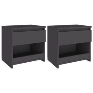2 Mesas cabeceira 40x30x39 cm contraplacado cinzento - PORTES GRÁTIS