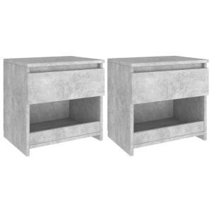 2 Mesas cabeceira 40x30x39 cm contrapl. cinzento cimento - PORTES GRÁTIS