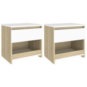 2 Mesas cabeceira 40x30x39 cm contrapl. branco/carv. sonoma - PORTES GRÁTIS