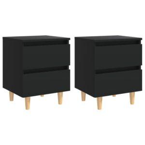 2 Mesas de cabeceira c/ pernas de pinho 40x35x50 cm preto - PORTES GRÁTIS