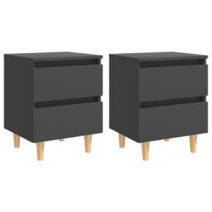 2 Mesas de cabeceira c/ pernas de pinho 40x35x50 cm cinza - PORTES GRÁTIS